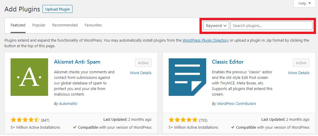 add-wordpress-plugin-via-search-bar