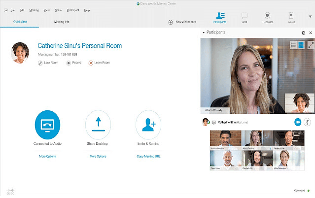 "WebEx: ""Meetings"" section"